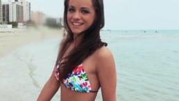 Bikini clad brunette Michelle Bella is fucked in her hotel room