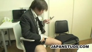 Japanese businessman jerk off to mobile phone Massage dick