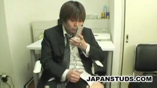 Japanese businessman jerk off to mobile phone