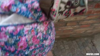 Blond Czech exhibitionist bounces her perfect ass on a big-dick Natural retro