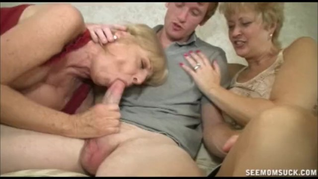 See mom suck Granny get wait to fill her mouth with young meat