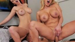 Busty brunette fan girl starts HOT threesome with Shyla Stylez