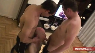 Straight guys serviced by older men Shot jerking