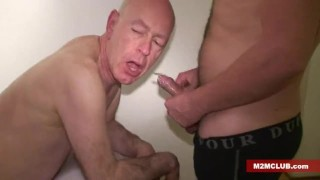 Straight guys serviced by older men