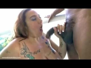 New BBW Slut Tricia Krave Sucks Off Big Black Cock on Balcony