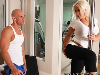 Spanked And Screwed Busty Blonde Bombshell Sammie Spades Fucks Her Personal Trainer
