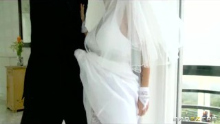 Sexy big-tit bride Devon rides a big-dick right after her wedding