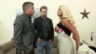 Big-tit blonde boss Jr Carrington takes two big-dicks at work Fingering silver