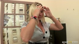 Big-tit lingerie clad secretary Devon Lee fucks her boss at work
