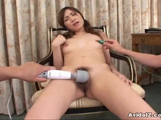 Sexy Asian Slut Double Blowjob and Cum Swallow