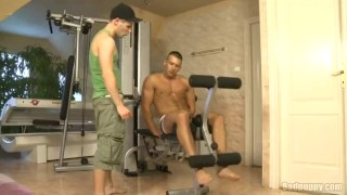 Hot oral workout! Bathroom wanking
