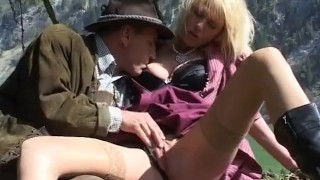 Mountain fuck fest blonde gets pounded raw outdoors porno