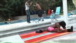 Horny ebony getting her cunt and ass fucked by two black cocks