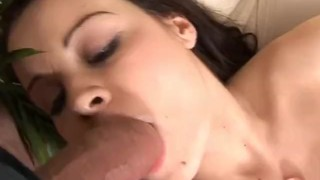 Brunette virgin playing with her virgin pussy Dildo tied