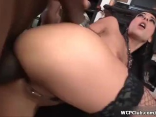 Horny brunette babe goes crazy riding a big black cock