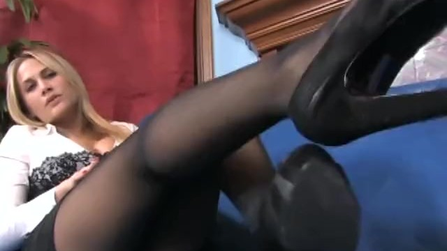 Swell of her hips pantyhose Big boobed blonde milf teases you with her sheer black pantyhose