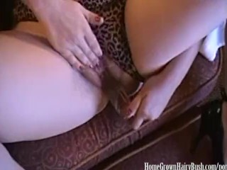 Fucking My Hairy Pussy With My New Glass Toy