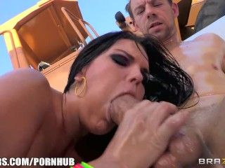 Harmony Blowjob Fucking, Fat booty brunette Mackenzee Pierce is oiled up for rough anal