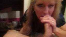 Blond Slut gives the best deep throat than takes warm cum all aver her face