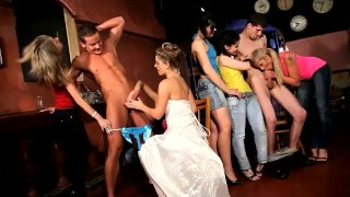 Cool CFNM hen party at Prague club with sexy teen Sandra as a bride redhead orgy babes femdom young cfnm18 teens