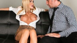 Company exec dreams about fucking his busty blond secretary Devon