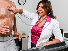 Sexy brunette doctor Raylene sucks her patient's big-cock