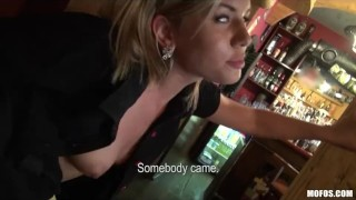 At sex having work blonde gorgeous into talked bartender is of babes