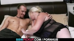 Blonde plumper jumps on stranger's cock