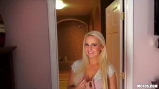 Busty blonde amateur GF Scarlett Star fucks on camera