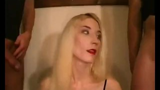 Skinny blonde chick sucking and fucking with passion
