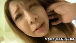 Teen Japanese Rina Wakui gets her pussy fucked and creampied