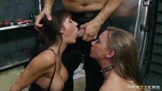 Crazy HOT dominatrix starts a hardcore S&M threesome Swallow pov