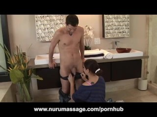 Danni Cole Oils Up Her Big Tits for Nuru Massage