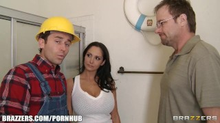 Slutty brunette wife Ava Addams fucks her home contractor Boobs mom