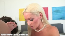 SEXY Russian MILF fucks her daughter's BF in the shower