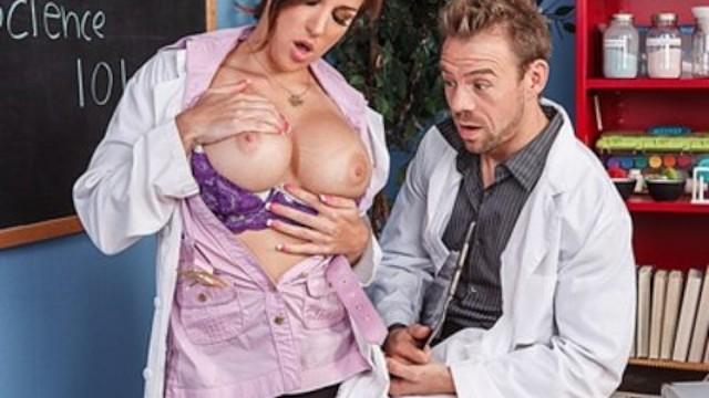 Sexy lab partner Busty brunette chem student kiera king fucks her lab partner