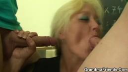 Two studs fuck granny teacher