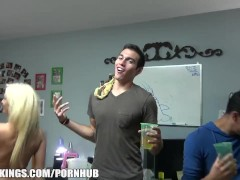 Group of HOT blonde college lesbians start a dorm room fuck party