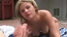 Hottie gives this dude a mean blowjob