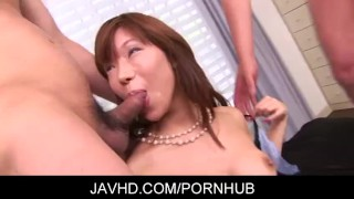 Two on one with sexy asian gal Serina Hayakawa gets extra hot  japanese threesome fingering creampie hairy pussy