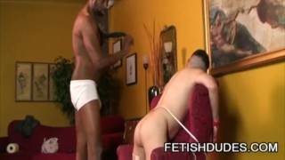 Black stud Hole Hunter giving disciplinary action to his partner TJ Gold Wanking big