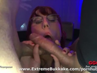 Sexy redhead nerd gets fucked hard and swallows cum