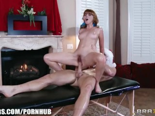 Gorgeous young redhead Marie Mccray fucks her masseur
