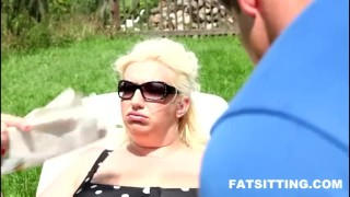 shoking facesitting performed by fat blonde  domination handjob bbw facesitting femdom chubby fat