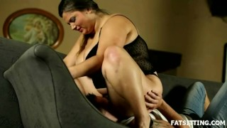 Big and beautiful Leny facesits her obedient slave  domination handjob chubby fat bbw facesitting femdom