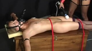 Interracial Bound - Scene 3  nipple clamps spanking girlongirl leash femdom asian vibrator collar rope stockings pornhub.com dildo muzzle ridding