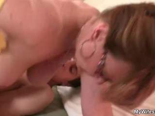 Horny mother in law enjoys riding his dick