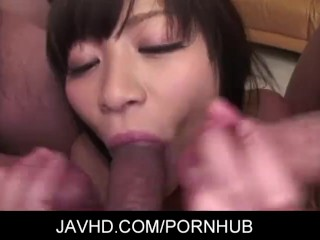 Asian babe ika Hoshino is humming hard as these two guys use dildos