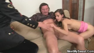 He finds his GF fucking with his parents