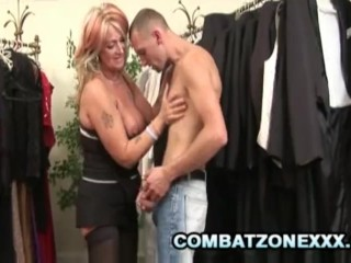 Mature babe Joanna Depp satisfies her pussy at the clothing store